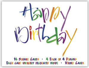 Cheerful Happy Birthday - Assorted Birthday Cards, Box of 16