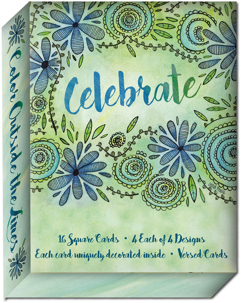 Color Outside the Lines - Assorted Birthday Cards, Box of 16