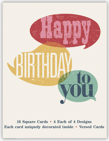 Colorful Birthday - Assorted Birthday Cards, Box of 16
