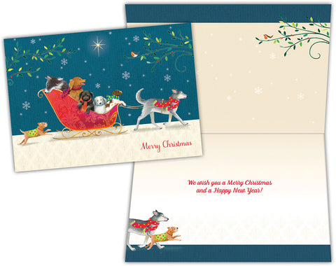 Dogs in Sleigh - Boxed Christmas Cards