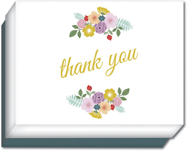 Floral/Script Thank You - Boxed Thank You Cards, Box of 15