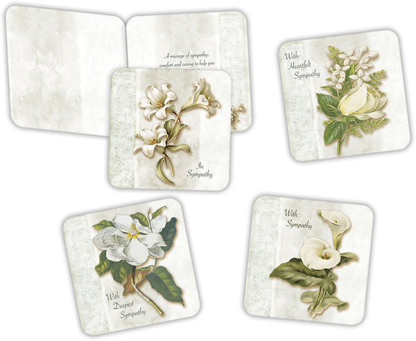 Floral Sympathy - Assorted Sympathy Cards, Box of 16