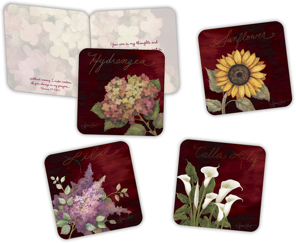 Floral Notes With Scripture - Assorted Get Well Cards, Box of 16
