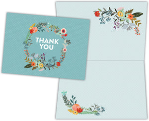 Floral and Feather Wreath Thank You - Boxed Thank You Cards, Box of 15