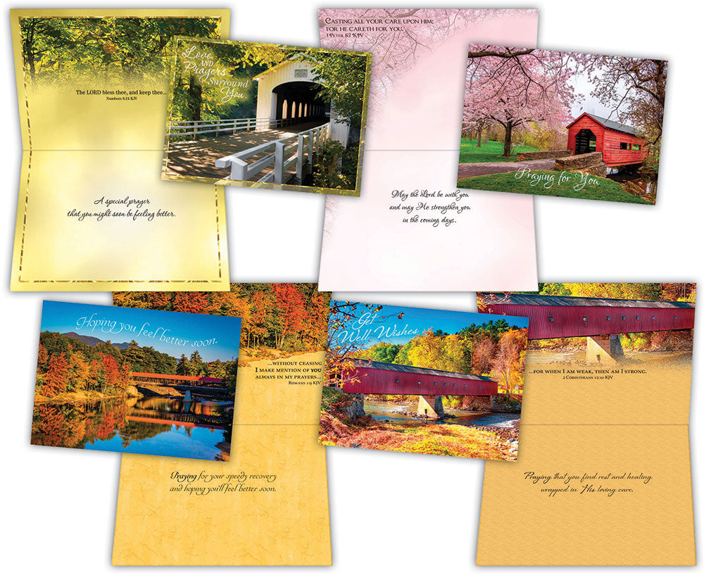 Get Well - Covered Bridge - Assorted Get Well Cards, Box of 12