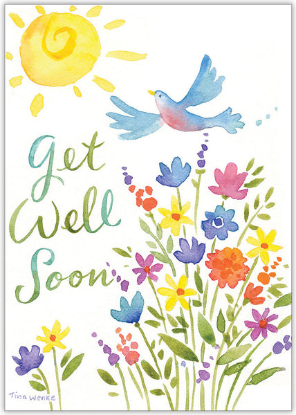 Get Well Soon Bird and Flowers - Individual Get Well Card