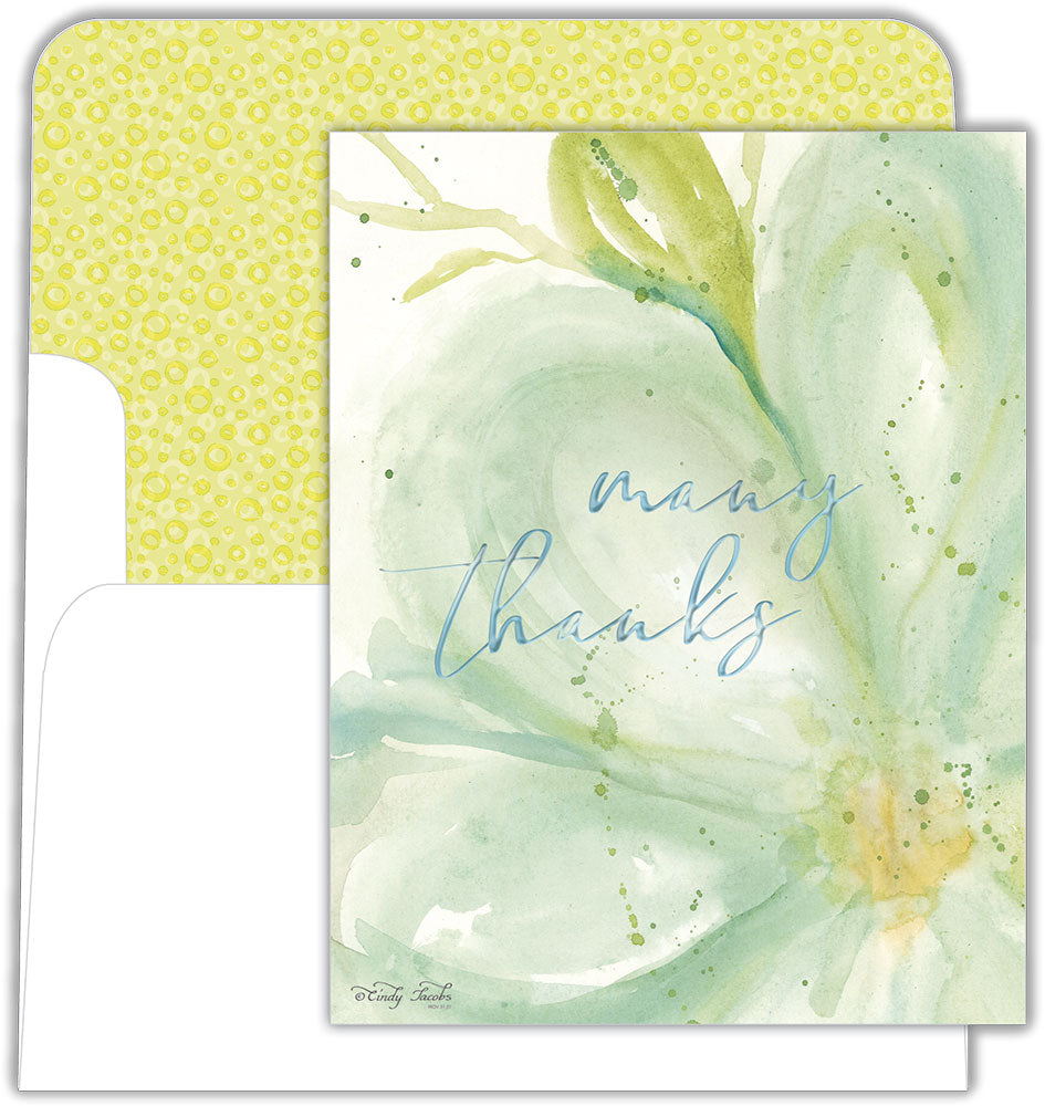Green Watercolor Blossom - Boxed Thank You Cards, Box of 15