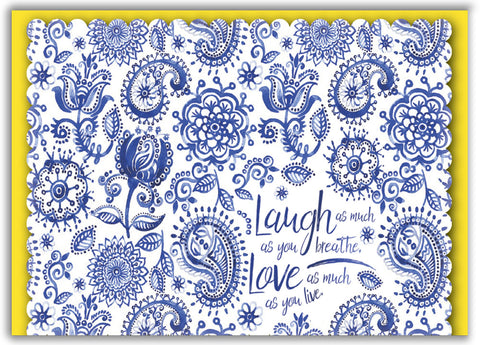 Blue Paisley Inspiration - Boxed Greeting Cards, Box of 15