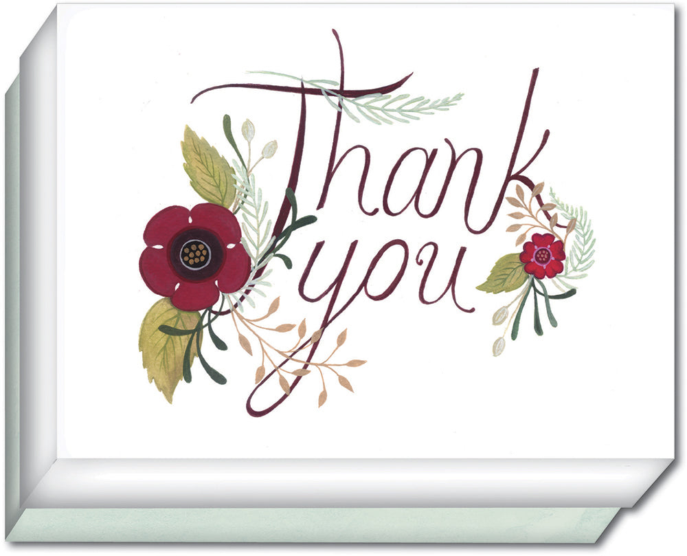 Red Floral Thank You Note - Boxed Thank You Cards, Box of 15