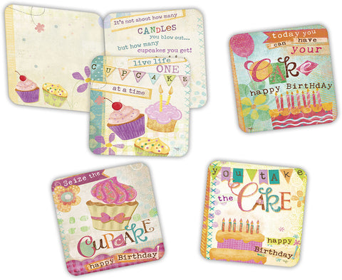 Mollie's Retro Birthday - Assorted Birthday Cards, Box of 16
