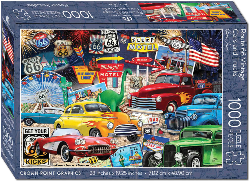 Route 66 Vintage Cars and Trucks - 1000 Piece Jigsaw Puzzle