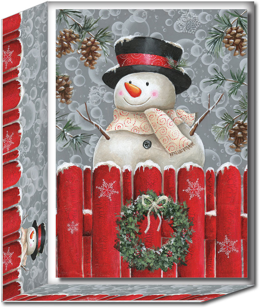 Snowman at Fence - Special Finish Boxed Christmas Cards