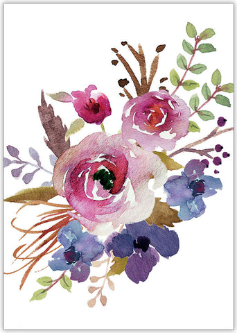 Watercolor Flowers - Individual Everyday Card