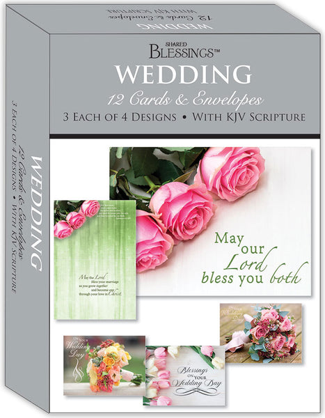 Wedding Florals - Assorted Wedding Cards, Box of 12