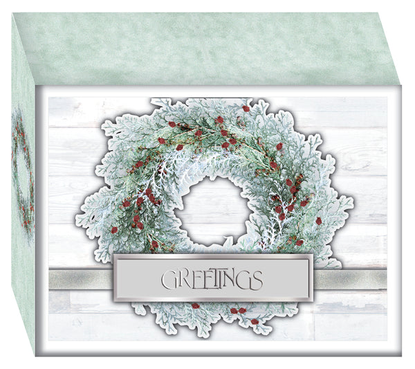 White Wreath with Holly Berries - Christmas Cards