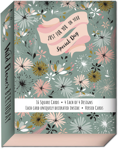 Wild Flower Birthday - Assorted Birthday Cards, Box of 16