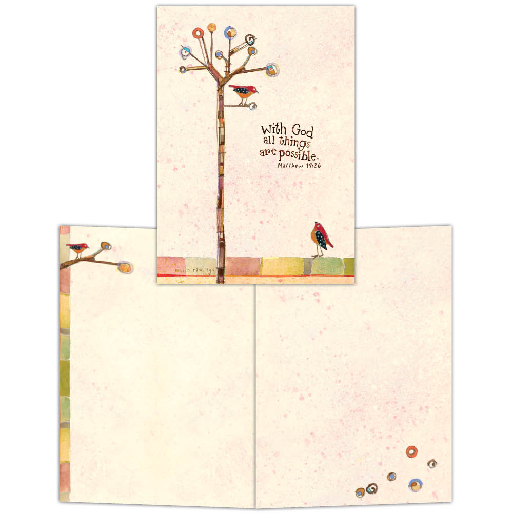 With God - Tree and Bird Notecard, Boxed Notecard, Box of 15