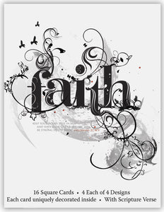 Words of Faith - Assorted Note Cards, Box of 16