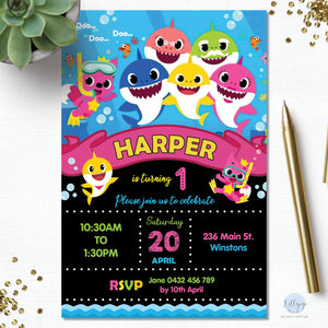 Baby Shark Personalised Invitation Pink - Minimum order 20 Invitations