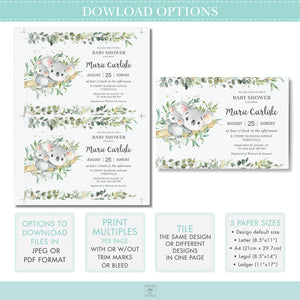 Twin Girls Koala Pink Floral Greenery Baby Shower Invitation Editable Template - Instant Download - Digital Printable File - AU1