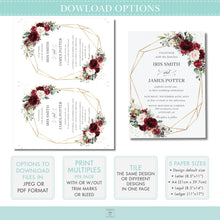 Load image into Gallery viewer, Rustic Burgundy Blush Pink Floral Love is Sweet Please Take a Treat Sign - Wedding Editable Template - Instant Download - RB1