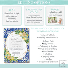 Load image into Gallery viewer, Chic Lemon Mediterranean Floral Mosaic Tiles Birthday Party Invitation - Editable Template -  Digital Printable File - Instant Download - LM1