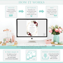 Load image into Gallery viewer, Rustic Burgundy Blush Pink Floral Seating Chart Sign - Wedding Editable Template - Instant Download - RB1