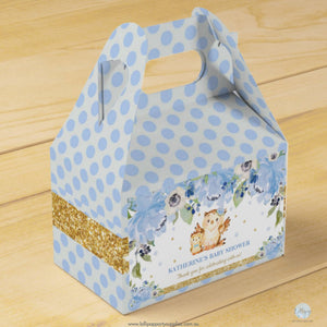 Blue Floral Mummy Owl and Baby Owl Personalised Baby Shower Favour Box