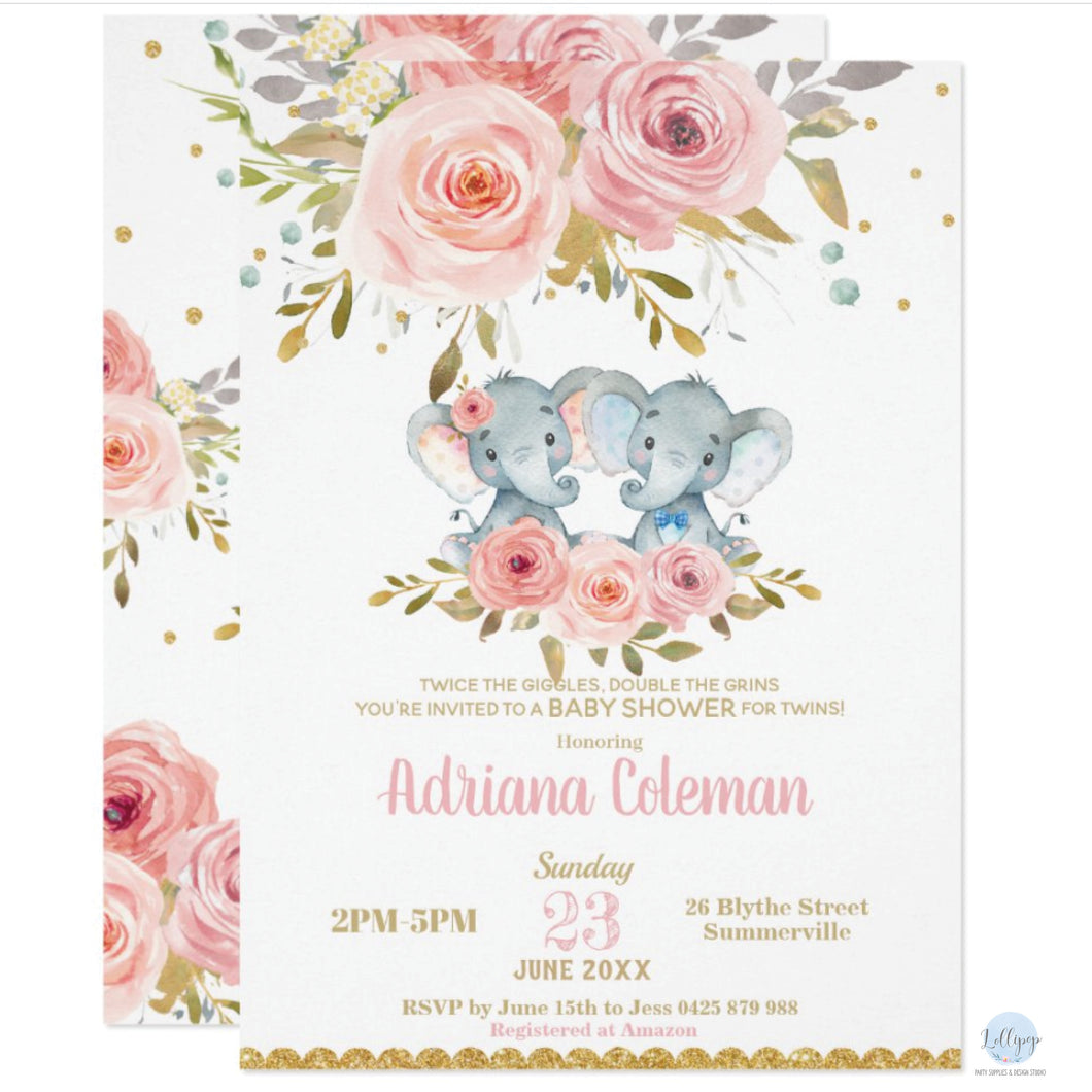 Blush Pink Floral Twins Boy Girl Elephant Baby Shower Personalised Invitations