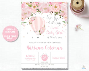 Pink Blush Floral Hot Air Balloon Baby Shower Invitation Silver Glitter Editable Template - Digital File - Instant Download - HB2