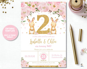 Twin Girls Bunnies 2nd Birthday Party Invitation Editable Template - Instant Download - Digital Printable File - CB6