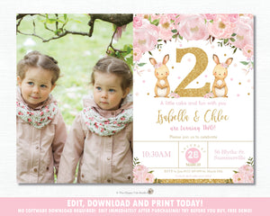 Twin Girls Bunnies 2nd Birthday Party Photo Invitation Editable Template - Instant Download - Digital Printable File - CB6