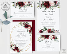 Load image into Gallery viewer, Rustic Burgundy Blush Floral Wedding Invitation Bundle EDITABLE TEMPLATE - Instant Download - Digital Printable File - RB1