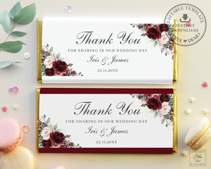 Rustic Burgundy Blush Pink Floral Chocolate Bar Wrapper Aldi Hershey's - Wedding Bridal Shower Editable Template - Instant Download - RB1