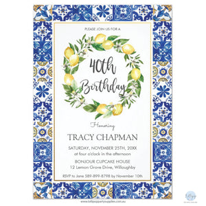 Chic Lemon Mediterranean Mosaic Tiles 40th Birthday Personalised Invitation