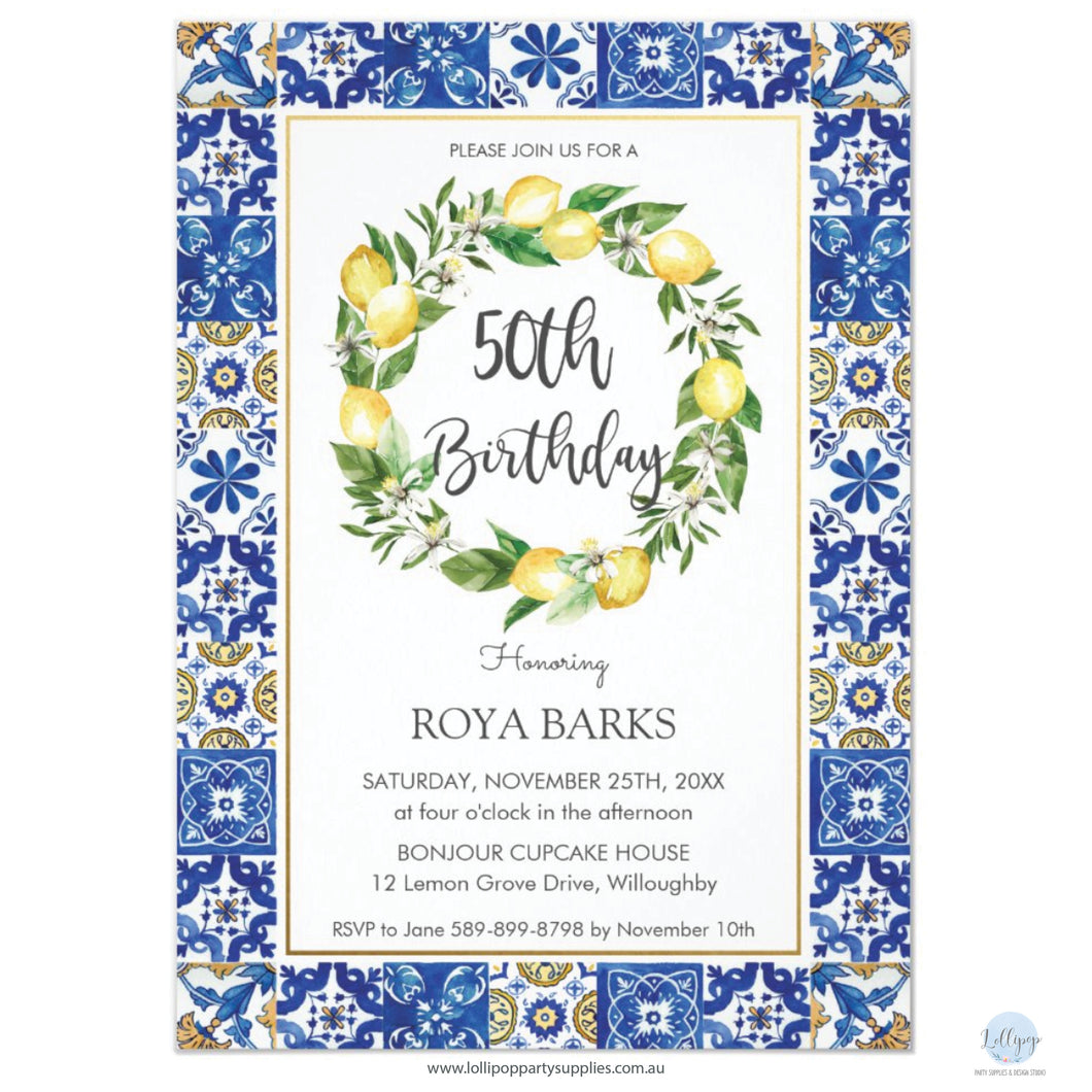 Chic Lemon Mediterranean Mosaic Tiles 50th Birthday Personalised Invitation
