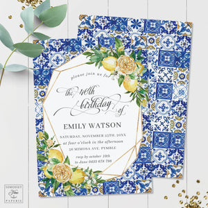 Chic Lemon Mediterranean Floral Mosaic Tiles Birthday Party Invitation - Editable Template -  Digital Printable File - Instant Download - LM1