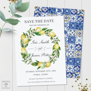 Chic Lemon Mediterranean Floral Mosaic Tiles Save the Date Card - Editable Template - Digital Printable File - Instant Download - LM1