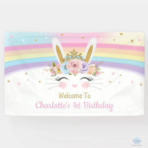 Rainbow Bunny Rabbit Birthday Baby Shower Personalised Backdrop Welcome Banner