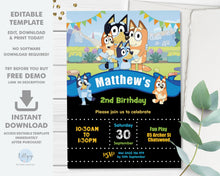 "Load image into Gallery viewer, Bluey Boy Blue 5""x7"" Invitation Editable Template - Digital Printable File - Instant Download - BL2"