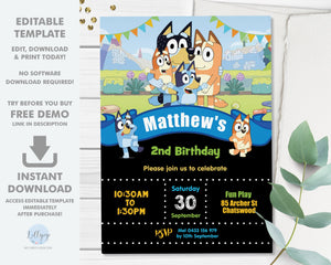 "Bluey Boy Blue 5""x7"" Invitation Editable Template - Digital Printable File - Instant Download - BL2"
