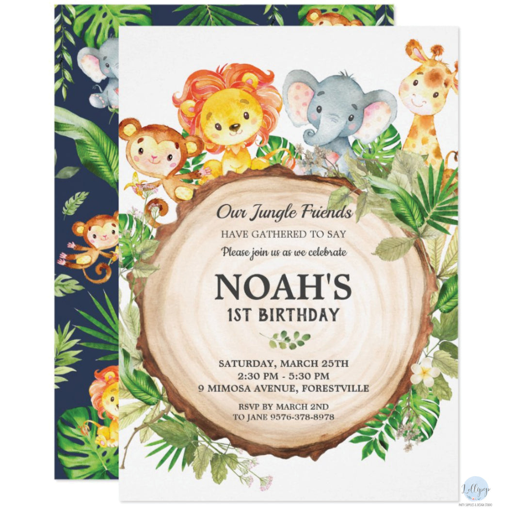 Cute Jungle Safari Animals Birthday Party Personalised Invitations