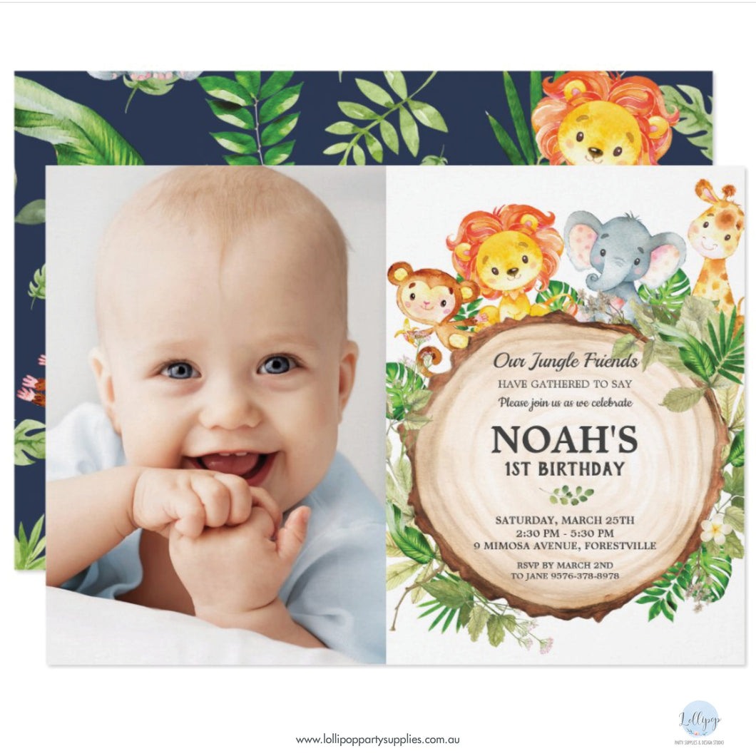 Cute Jungle Safari Animals Birthday Party Personalised Photo Invitations