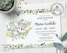Load image into Gallery viewer, Greenery Mommy and Baby Koala Australian Animals Gender Neutral Boy Girl Baby Shower Invitation - Editable Template - Digital Printable File - Instant Download - AU1