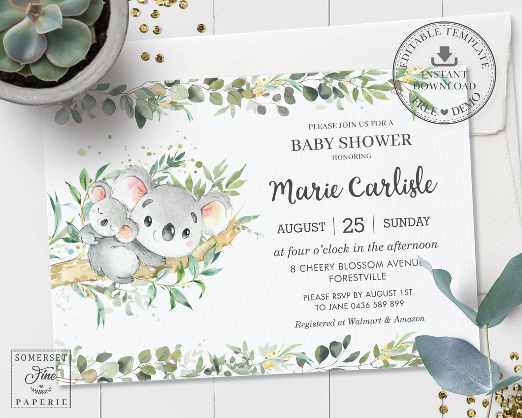 Greenery Mommy and Baby Koala Australian Animals Gender Neutral Boy Girl Baby Shower Invitation - Editable Template - Digital Printable File - Instant Download - AU1