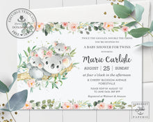 Load image into Gallery viewer, Twin Girls Koala Pink Floral Greenery Baby Shower Invitation Editable Template - Instant Download - Digital Printable File - AU1