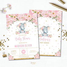 Load image into Gallery viewer, Pink Blush Floral Elephant Baby Shower Invitation Editable Template - Digital File - Instant Download - EP5
