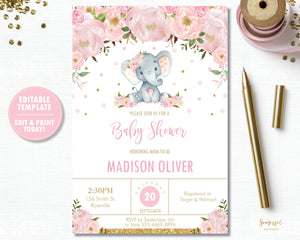 Pink Blush Floral Elephant Baby Shower Invitation Editable Template - Digital File - Instant Download - EP5