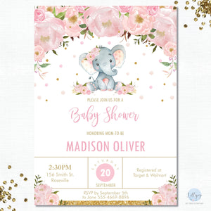 Pink Floral Elephant Baby Shower Personalised Invitation - Minimum order 8 Invitations - EP5