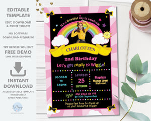 Emma Bow The Wiggles Photo Chalkboard Invitation Editable Template - Digital Printable File - Instant Download - WG1